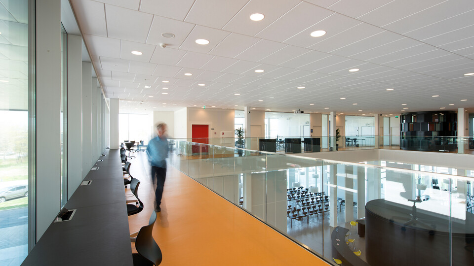 Campus Roskilde, Sonar E-edge 1200x600, VertiQ 1800x1200 wall absorbers, education