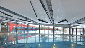 Le Cap swimming pool fitness centre, Rockfon Color-all Charcoal, Ekla A-edge E-edge, leisure