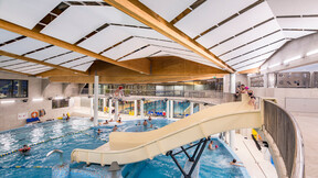 Aqua Lublin,Poland,Lublin,4000 m2,Paweł Tiepłow – Pracownia Projektowa, MOSiR Lublin,Bartosz Makowski,ROCKFON Sonar,D-edge,2400x600,white,ROCKFON System T24, swimming pool