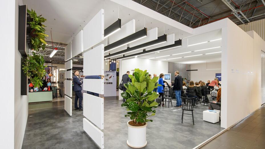 news article illustration, open interior fair, Poland, Rockfon, office design, acoustics, tradeshow, Mono Acoustic, Blanka, VertiQ, Eclipse, PL