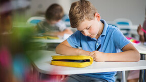 school, school boy, pupil, classroom, studying, pencil case, writing, pen, pencil
