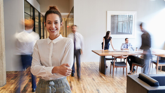 office, people, woman, smile, office desk, laptop, sofa, couch, meeting, walking